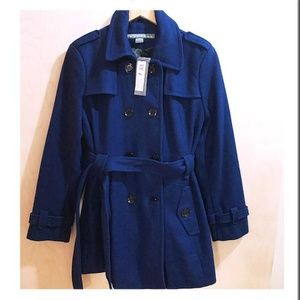 NTW Kenneth Cole XL blue wool pea coat w/ belt